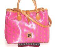 Dooney & Bourke Sutton Perry Lipstick Pink Saddle Pvc Tote Satchel Bag $298