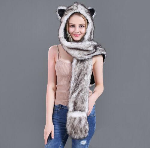 3in1 femmes fourrure synthetique Chapeau Moelleux rabasner Sweat à capuche écharpe châle gant Plush Cap
