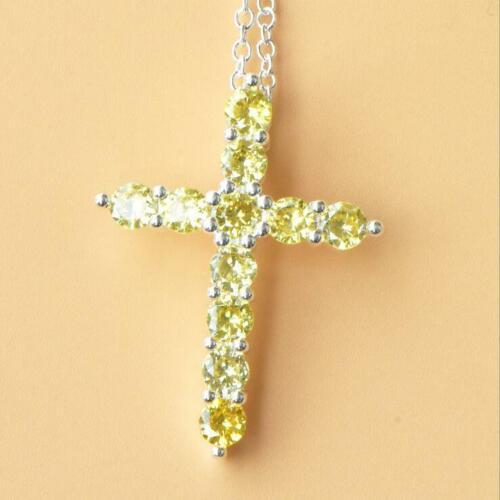 Cross Design Gorgeous Shiny Natural Golden Citrine Gems Silver Necklace Pendants