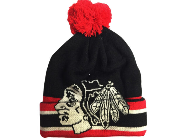 Youth Chicago Blackhawks Oversized Logo Cuffed Knit Hat with Pom NHL CCM  Beanie 9e043e18b7d