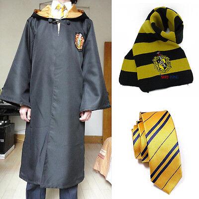 Harry Potter Cloak & Tie&Scarf Gryffindor/Hufflepuff/Slytherin/Ravenclaw Costume
