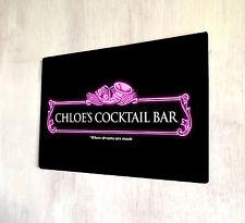 Personalised Pink Cocktail neon Bar sign A4 metal Door Plaque