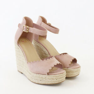 9daf85348d17 Image is loading Scalloped-Topline-Faux-Suede-Ankle-Strap-Espadrille-Wedge-