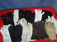Gloves Vintage 1950s Kidskin Leather Fur Fabric Black White Lot of 13 pairs