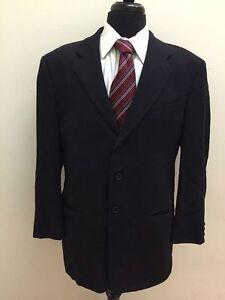 Armani Collezioni Men's Navy Blue Lana Wool Blazer Jacket Size 42R Made in Italy