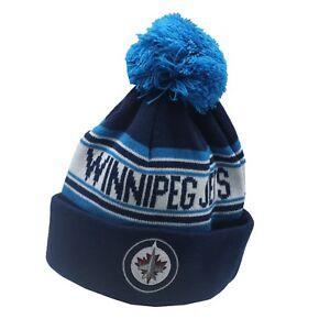 Winnipeg-Jets-NHL-Reebok-Youth-Boys-8-20-Cuffed-Pom-Knit-Winter-Beanie-Hat-Cap