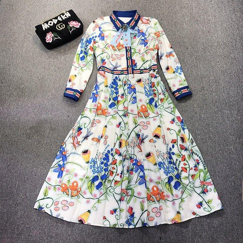 PL03 Damen Designer inspiriert Bedrucktes Bedrucktes Bedrucktes Kleid Übergröße 08e8d2