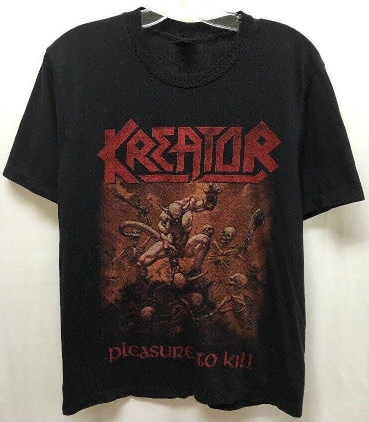 Vintage Kreator Pleasure To Kill T-Shirt Size L 3D Emblem Slayer Trash Metal