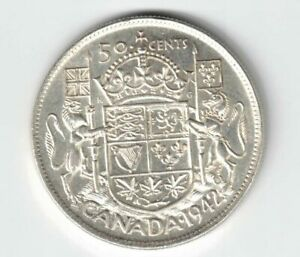 CANADA-1942-FIFTY-CENTS-HALF-DOLLAR-KING-GEORGE-VI-CANADIAN-SILVER-COIN