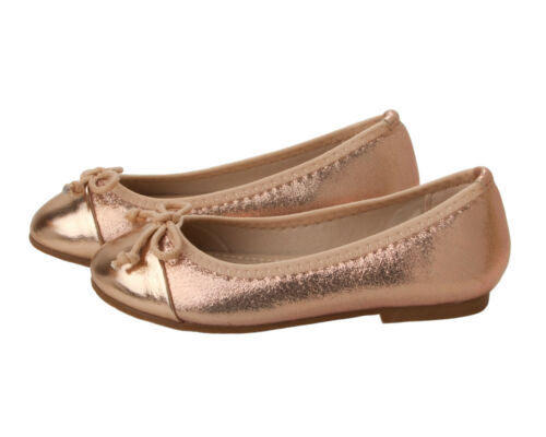 GIRLS ROSE GOLD BRIDESMAID WEDDING EVENING PARTY FANCY PUMPS SHOES UK SIZE 10-2