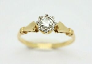 *Vintage 18Ct Yellow Gold 0.13Ct Solitaire Diamond Engagement Ring, Size N
