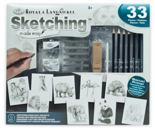 LEARN TO DRAW WILD ANIMALS ARTIST SKETCHING DRAWING PENCILS COMPLETE KIT AME-110