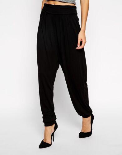 Le donne signore Ultimate di base nero lunga Jersey Harem Pantaloni Taglia 8-26
