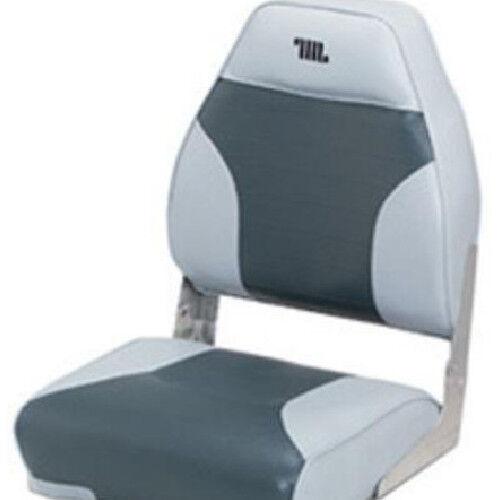 Mid Back Fishing Boat Seat Gray Charcoal Logo Marine Vinyl Foam Cushion Chair