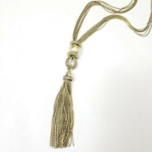 Joan-Rivers-Necklace-Brass-Antique-Goldtone-Balls-Tassel-Chains-Crystal-Accent