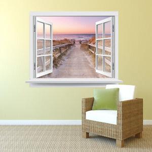 premiumdesign wandtattoo fenster strandausblick 130 x 101cm motiv 140 ebay. Black Bedroom Furniture Sets. Home Design Ideas