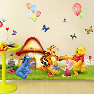 Cartoon Winnie the Pooh Nursery Room Wall Stickers Kids Children Bedroom Decal