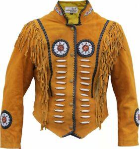 "German Wear, Western-veste En Cuir Indien Costume Traditionnel Western Veste Cavalier Veste Ocre-acke Indianer Tracht Westernjacke Reiter Jacke Ocker"" afficher Le Titre D'origine"