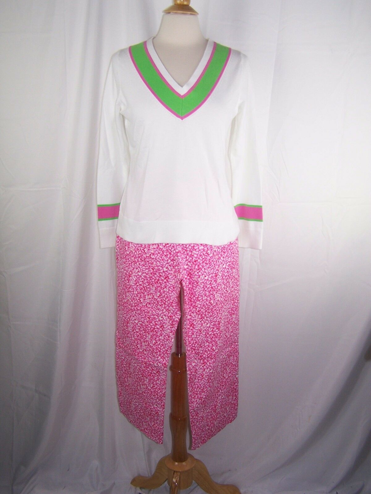 Lot of 2 Lilly Pulitzer Palm Beach fit Pink White Green pants Shirt 12 Large