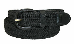 Mens-Elasticated-Fabric-Woven-Braided-Stretch-Webbed-Belt-30mm-Leather-Buckle