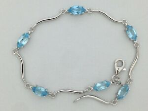 Natural-Blue-Topaz-Bracelet-925-Sterling-Silver