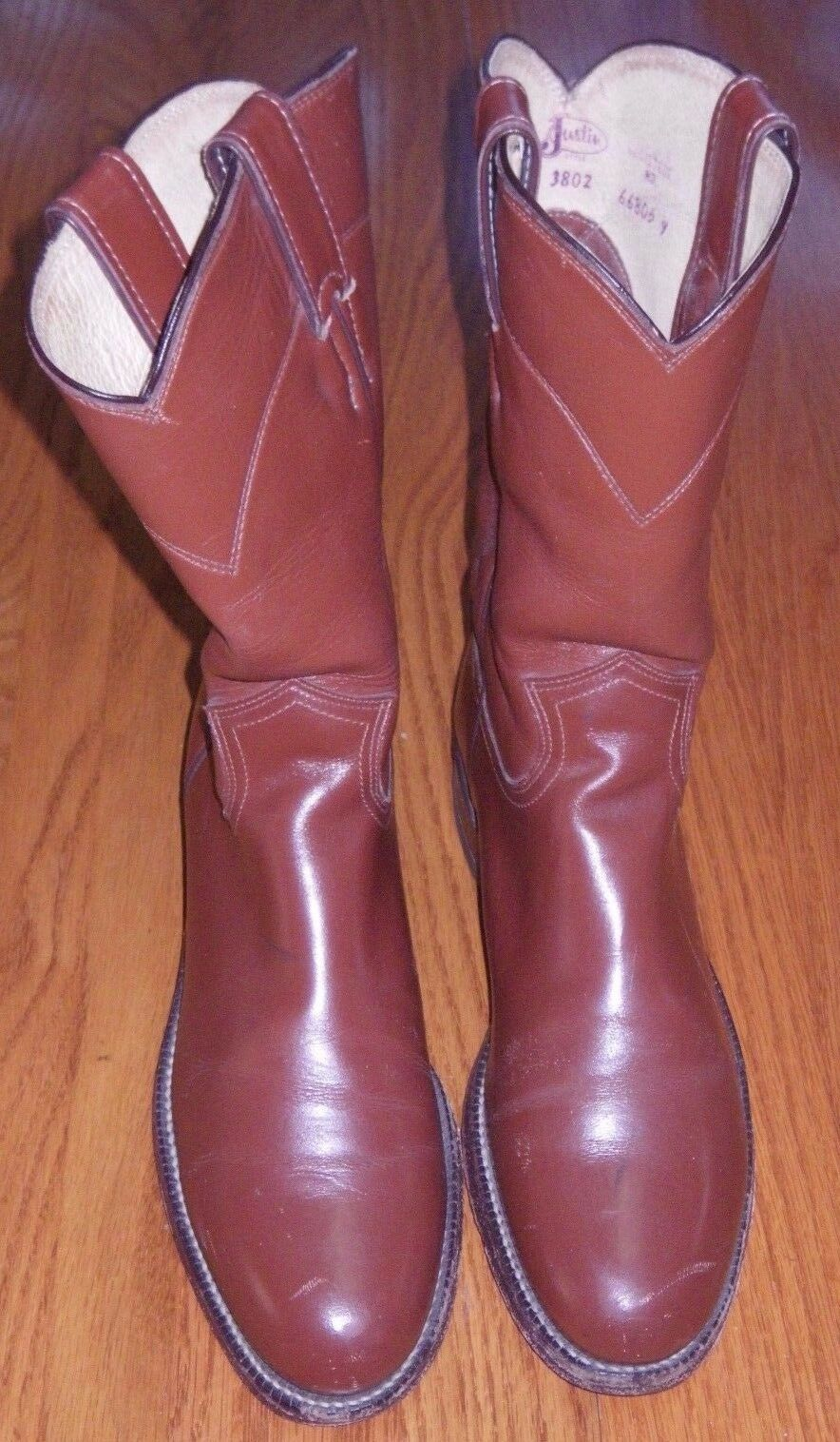 JUSTIN  LEATHER ROPER COWBOY WESTERN BOOTS L-3802 WOMEN'S SIZE 6 1 2 AA USA Made