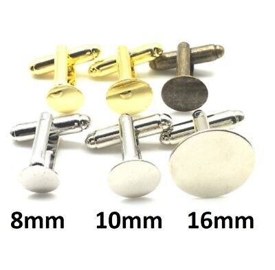 Gold Colour Round Blank Cufflinks Cuff Link Backs Pair Wholesale Craft Base UK
