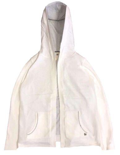 WHITE Stuff Latticello Hannah Bianco Misto Cotone Felpa Con Cappuccio RRP £ 55 96