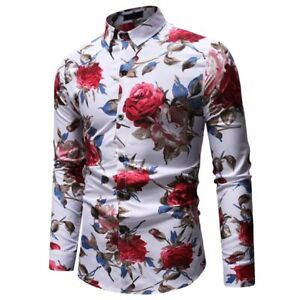 T-shirt-men-039-s-casual-floral-formal-long-sleeve-stylish-tops-slim-fit-dress-shirt