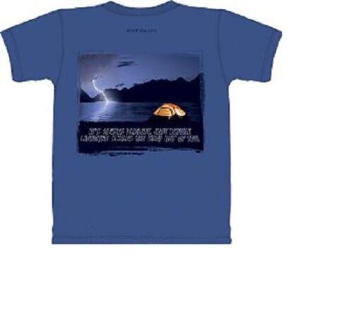Mountain Life T-shirt Camping Hiking Size L 2XL Top Blue Night Tent Lightning