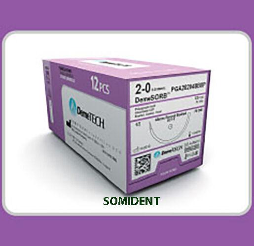 """Dental Sutures  PGA 4-0 30"""" 3/8 19mm, 12 pcs. Absorbable 12pcs, DemeTech"""