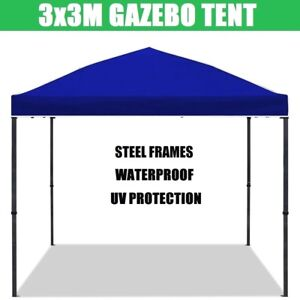 Blue 3x3m Gazebo Outdoor Pop Up Tent Folding Marquee Party Camping Shade Canopy