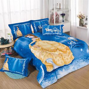 Disney Belle Kids Bedding Quilt Duvet Cover Set Twin Queen