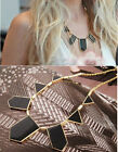 Fashion Jewelry Retro Crystal Chunky Geometric pendant necklace Chain Black