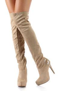 Beige Thigh High Boots - Boot Hto