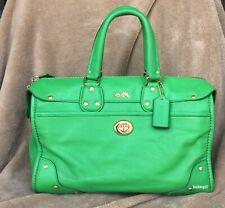 8801bdbe6451 EUC COACH Rhyder 33 Satchel Shoulder Crossbody Bag Grain Leather Green 33689