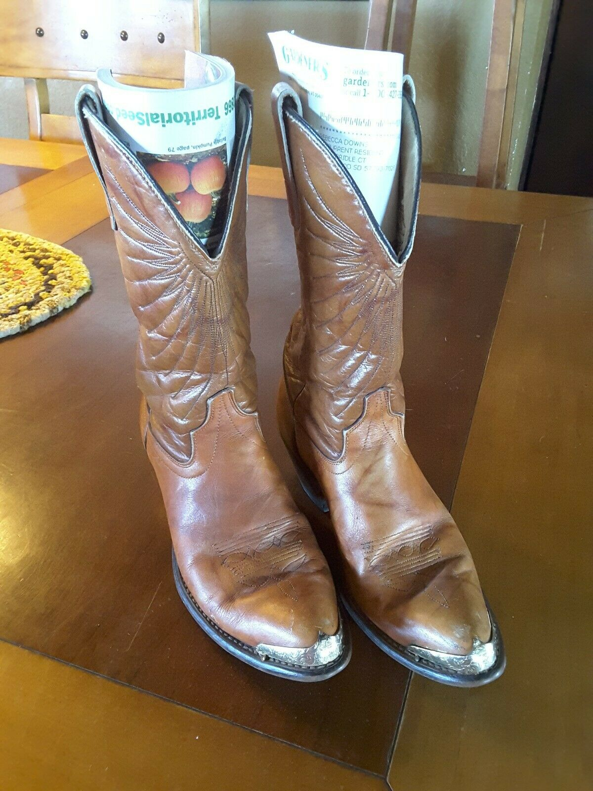 SHEPLERS Cowboy Boots Brown leather 7-7.5 gold toe mid shaft womens point toe