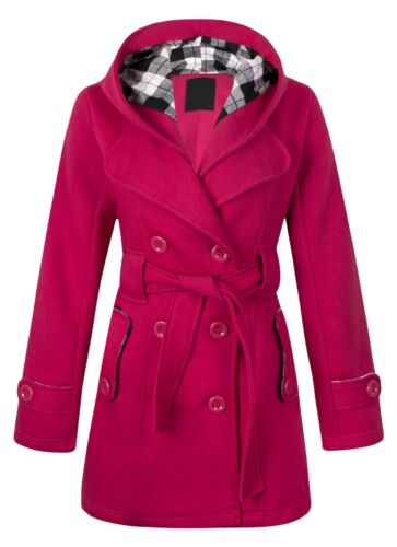 NUOVA linea donna cappuccio controllo pulsante Cappotto Giacca Con Cappuccio Con Cintura Donna in Pile Misura UK8-14