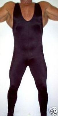 Free P/&P Plain lycra spandex zentai wrestling singlet black S-XXL