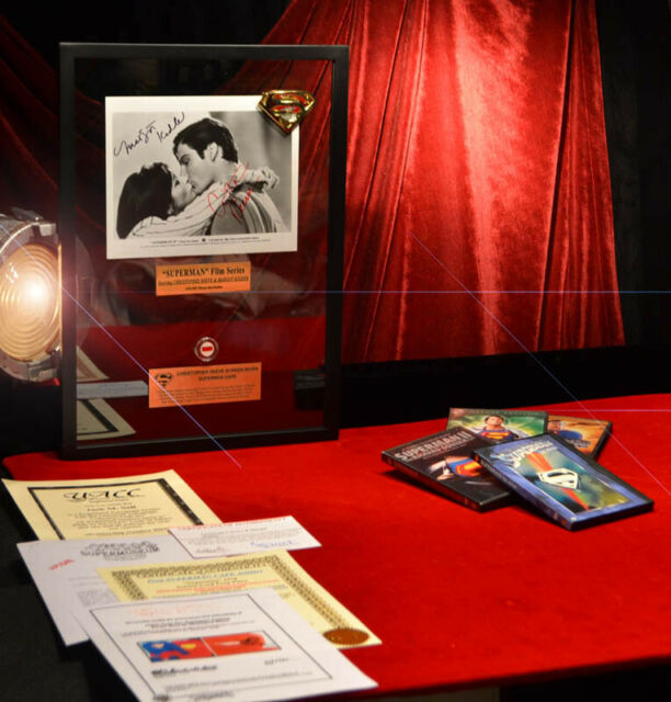 Superman SIGNED Christopher Reeve & Kidder, FRAME, COA UACC, DVD, piece of CAPE!