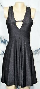 DON-039-T-ASK-WHY-NEW-NWT-Sparkly-Black-Stretch-Fit-amp-Flare-Dress-One-Size-Italy