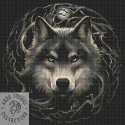 Wolf tabla de puntada cruzada contada Kit-Anne Stokes o-Fantasía-Goth