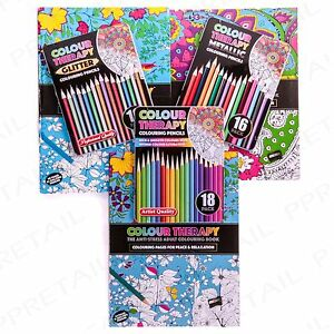 Colour Therapy Relief Relaxation ADULT COLOURING BOOK GIFT SET With Pencils