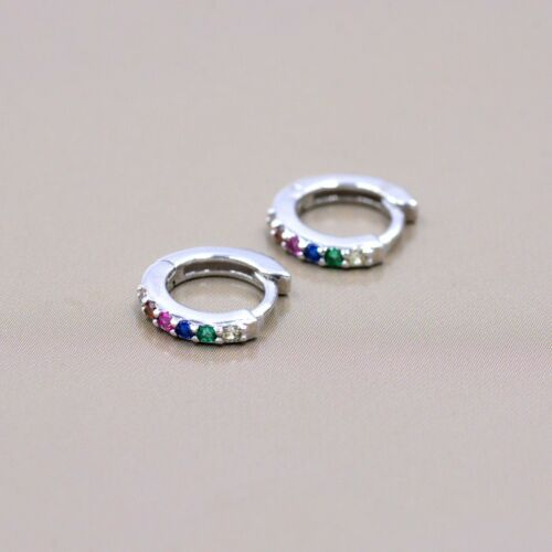 Small Sterling Silver Rainbow Huggie Hoop Earrings CZ Pave Rainbow Colour Hoops