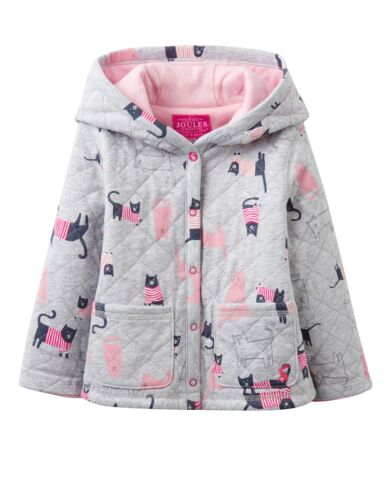 BNWT Joules Baby Girls Cuddle Grey Marl Cats Hooded Jersey Jacket Soft Warm Cute