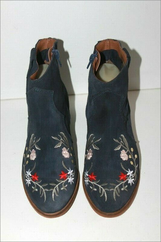 ANDRE Bottines Boots Daim Bleu Marine Broderie Fleurs T 38 TBE