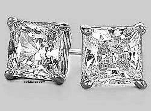 AAA 1ct tw PRINCESS cut CZ Solid 14K White gold Stud Earrings NEW