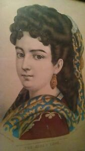 """Picture Frames Antique 1870s Currier And Ives """"the Girl I Love"""" Lithograph In Wood Frame"""