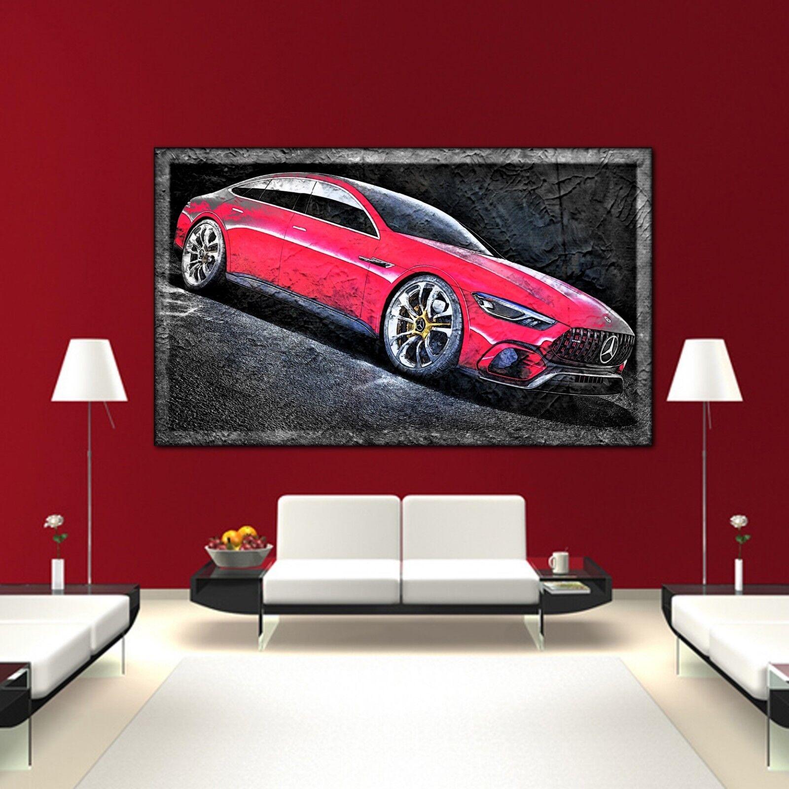 LEINWAND BILD ER XXL POP ART MERCEDES AMG GT ABSTRAKT BUNT WAND POSTER 150x90