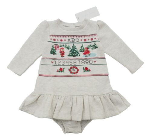 RALPH LAUREN baby girl fleece LS DRESS 3//6M winter sampler scene BNWT 70cm